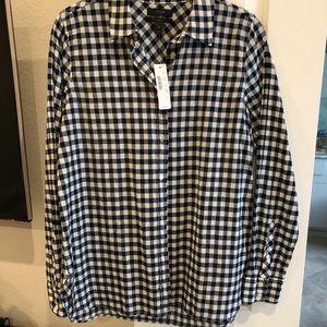 J Crew navy gingham button up shirt
